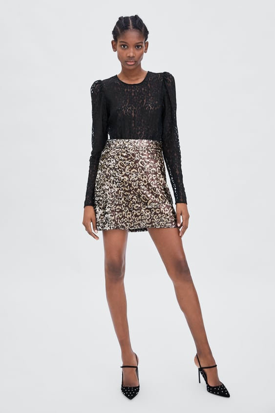 Contrast Lace Top  Topstrf by Zara
