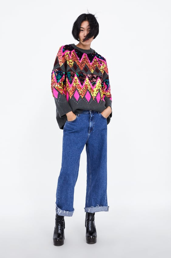 Oversized Sweater With Sequins  Knitwearwoman by Zara
