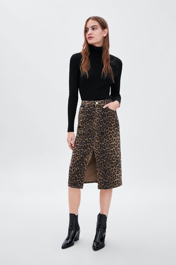 elige auténtico variedad de estilos de 2019 nuevas imágenes de Shoptagr   Falda Estampado Animal Última Semanatrf by Zara