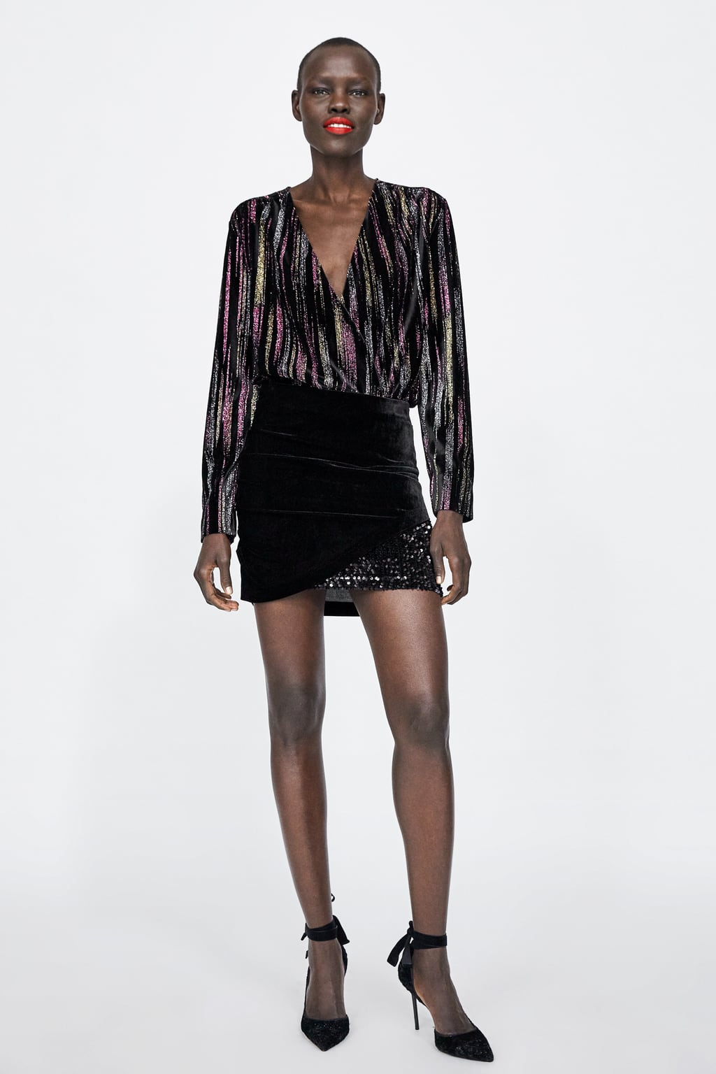 Image 1 of VELVET LOOK SKIRT from Zara