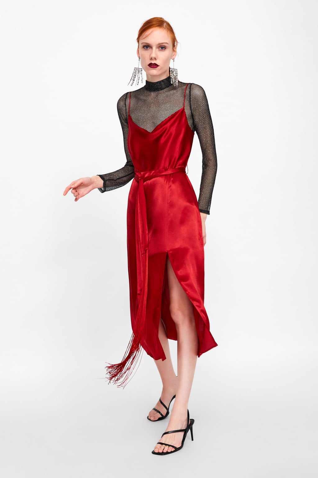 Image 1 of CAMISOLE DRESS WITH FRINGED BELT from Zara