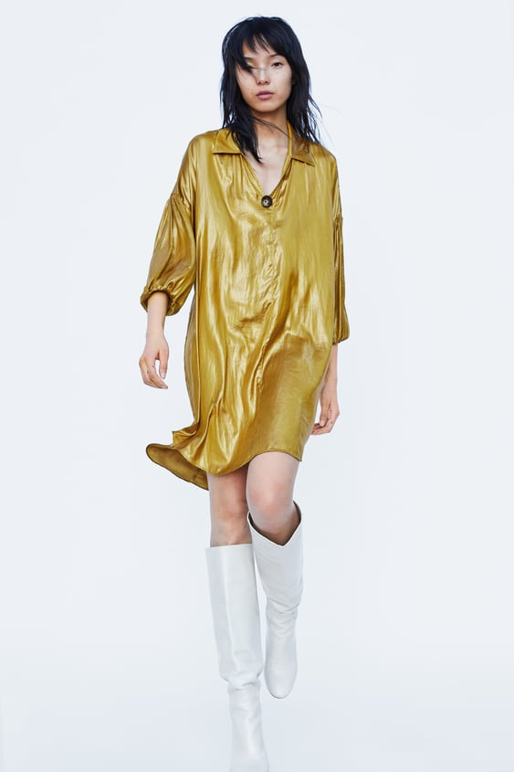 Wrinkle Effect Shirt Dress  View All Dresses Woman by Zara