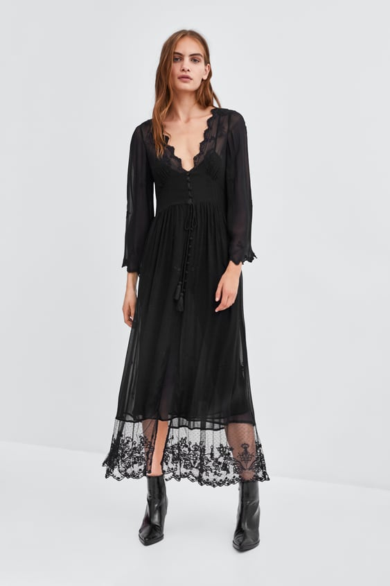 SEMI - SHEER DRESSING GOWN-Long sleeves.-DRESSES-WOMAN | ZARA United ...