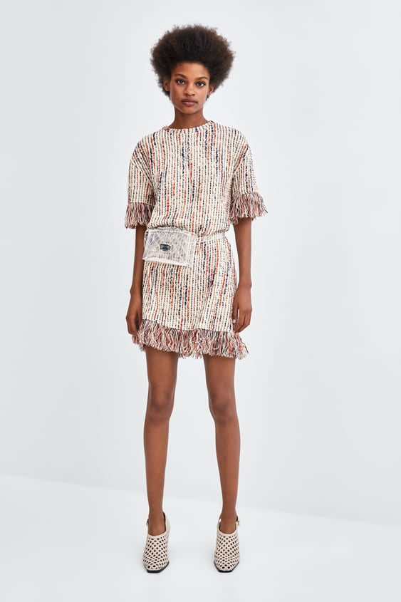 1afa40f3da70 Shoptagr | Fringed Jacquard Dress Mini Dresses Woman by Zara