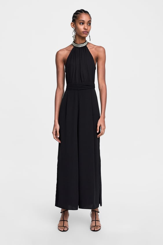 Jewel AppliquÉ Halter Jumpsuit Jumpsuitswoman Sale by Zara