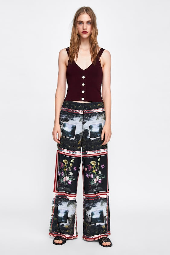 Image 1 of PRINTED PALAZZO TROUSERS from Zara