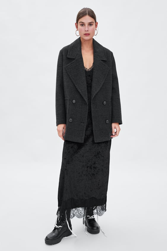 Double  Breasted Check Threequarter Length Coat Coats Coats Woman by Zara