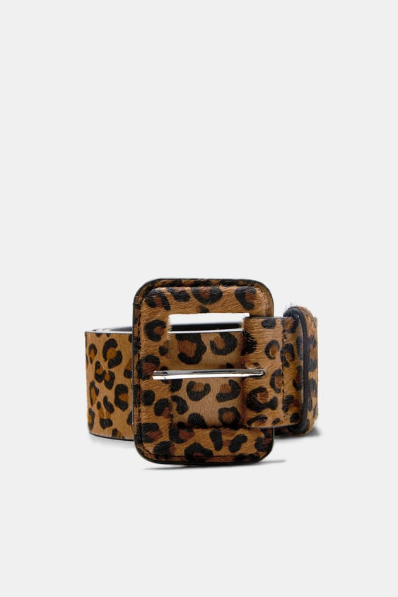 Image 1 Of Leather Leopard Print Belt From Zara