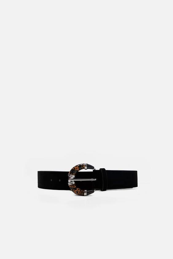 CinturÓn Terciopelo Hebilla  Cinturones Accesorios Mujer by Zara