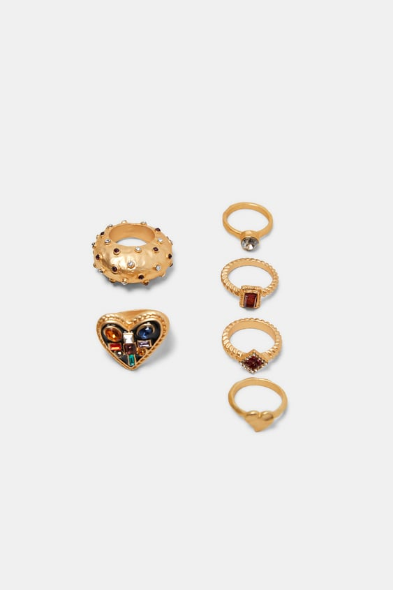 Pack Of Gemstone Rings  Jewelry Accessories Woman by Zara