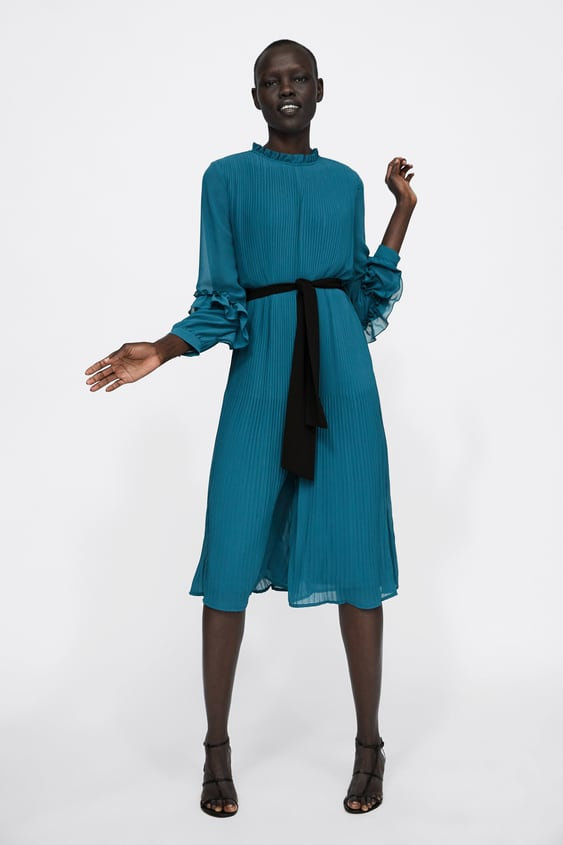 Pleated Jumpsuit Dress With Belt  Cocktail Dress Time Woman Corner Shops Sale by Zara