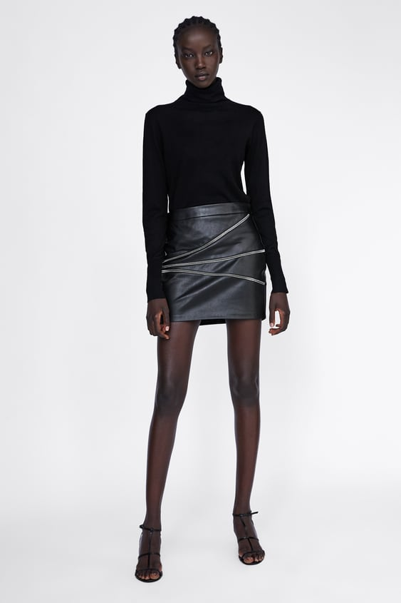 Faux Leather Skirt With Zips  Animal Printwoman by Zara