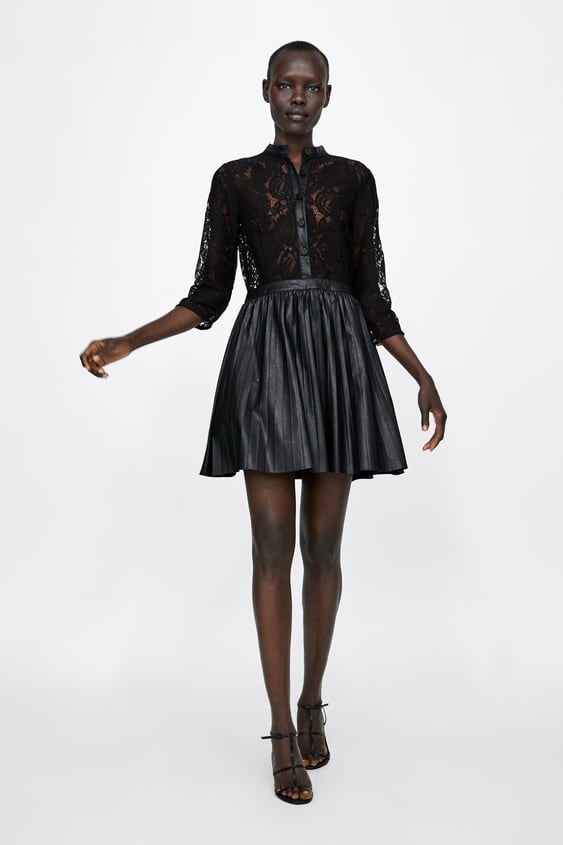 Faux Leather Dress With Contrasting Lace  View All Dresses Woman by Zara