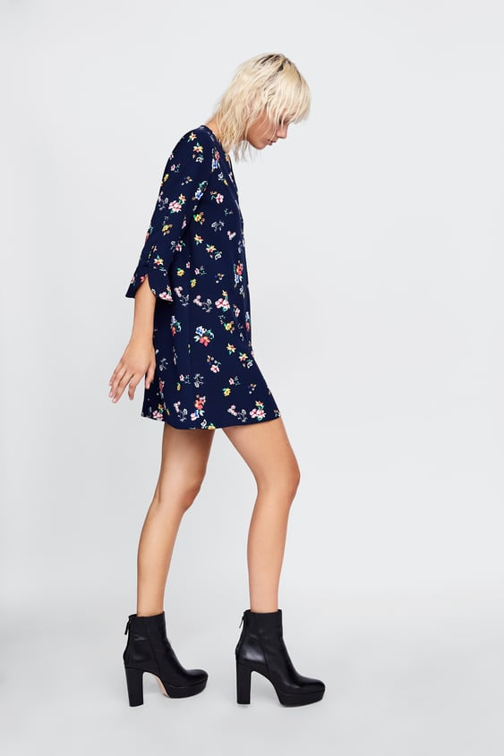 a135a0aa CROSSOVER DRESS WITH FLORAL PRINT - Long sleeve-DRESSES   JUMPSUITS ...