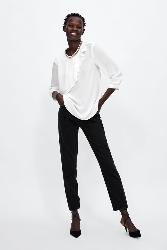 Blouse With Stras On The Collar  View All Blousen Ladies Sale  Zara Netherlands by Zara