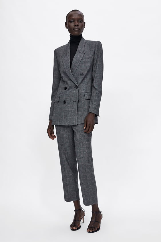 Check Double  Breasted Blazer View All Trousers Woman by Zara