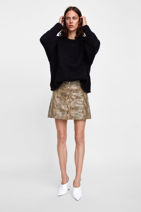 c8cfa12c1 Shoptagr | Snakeskin Print Leather Mini Skirt Skirtssale Woman by Zara