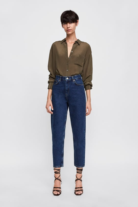 Zw Premium New Mom Jeans In Stone Blue  View All Jeans Woman Sale by Zara