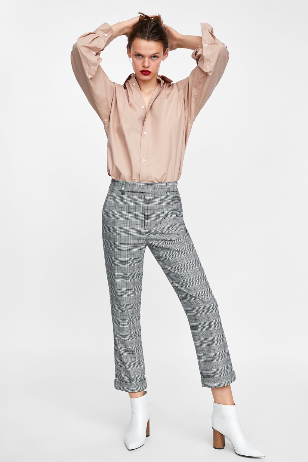 Slim Fit Checked Trousers  View All Trousers Woman Sale by Zara
