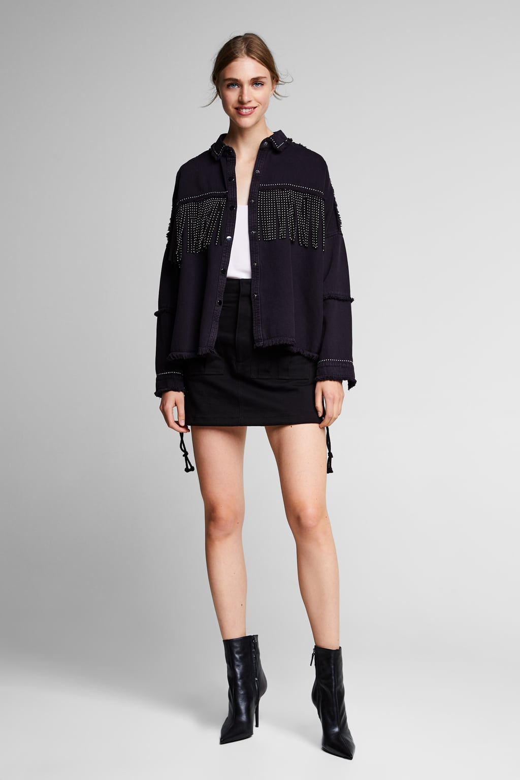 Image 1 of FRINGED DENIM JACKET from Zara