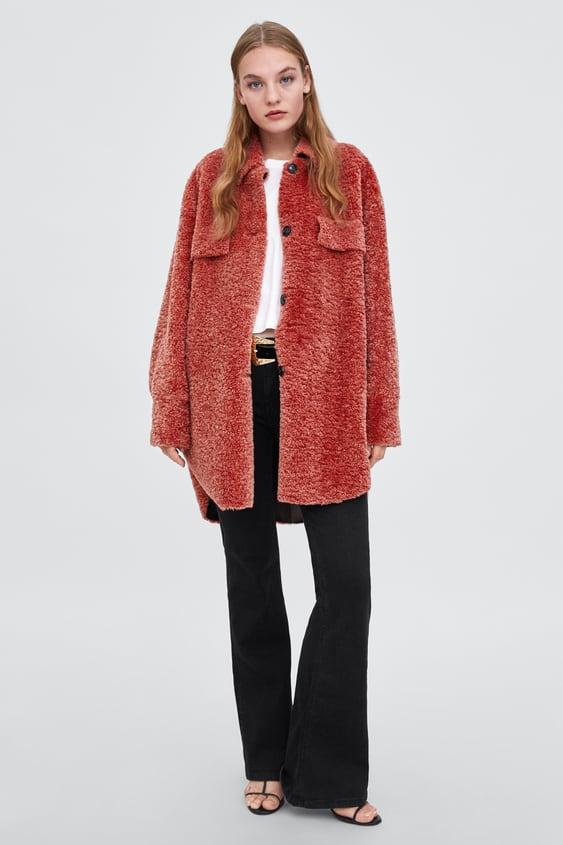 Fleece Overshirt  Faux Fur Coats Woman by Zara