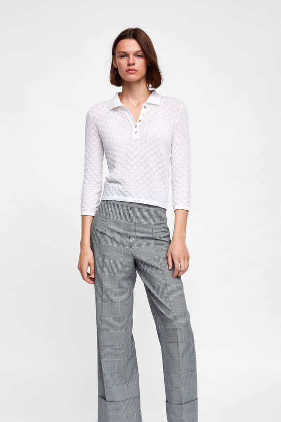 Pointelle Knit Polo Shirtknitwear Woman Sale by Zara