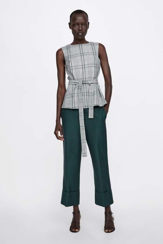 Checked Top With Bow  View All Shirts by Zara