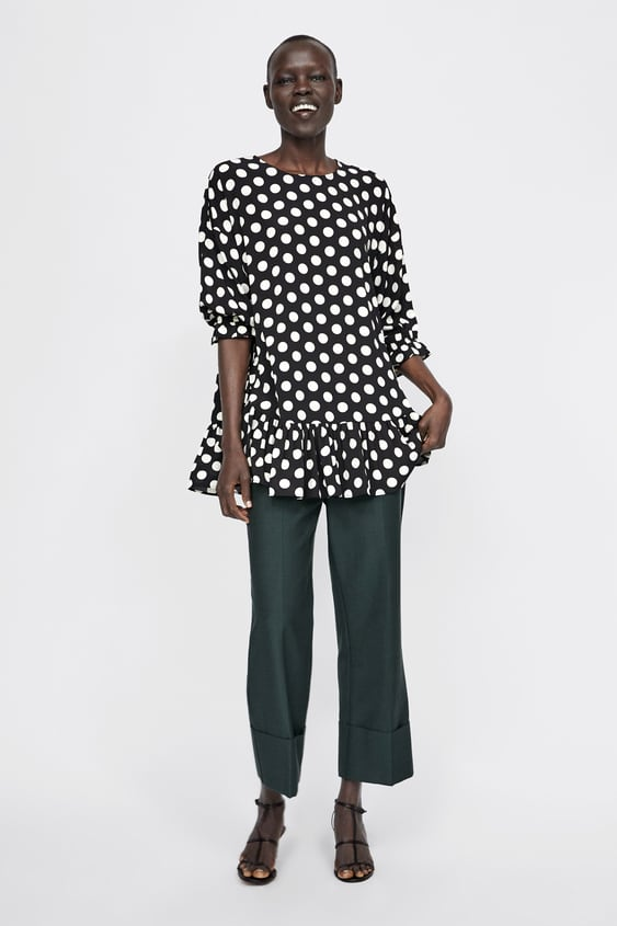 Polka Dot Oversized Blouse With Ruffles  View All Shirts by Zara