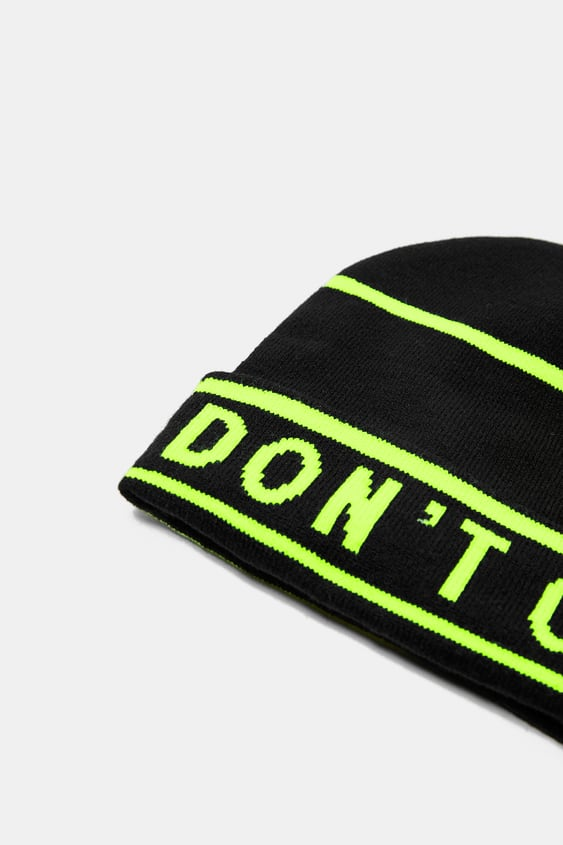 d2579736c3c Image 2 of KNIT BEANIE WITH SLOGAN from Zara