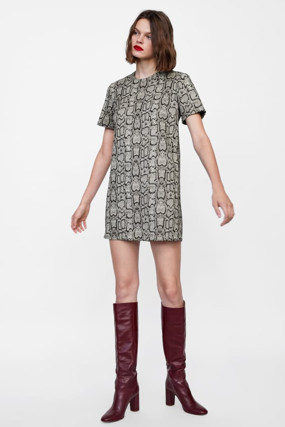 02bcc05c45ca SNAKESKIN PRINT JACQUARD DRESS - DRESSES-WOMAN | ZARA South Africa