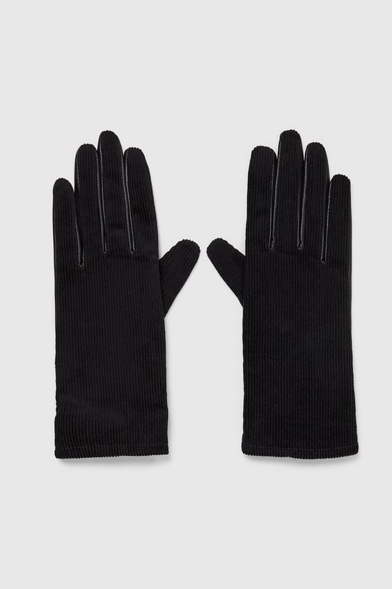 Gloves With Corduroy  View All Accessories Woman by Zara