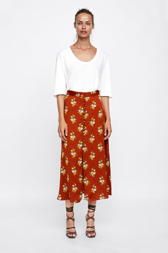 Skirt With Flower Print  View All Skirts Women Sale by Zara