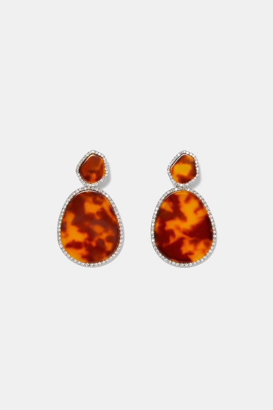 Image 1 Of Sparkly Edged Earrings From Zara