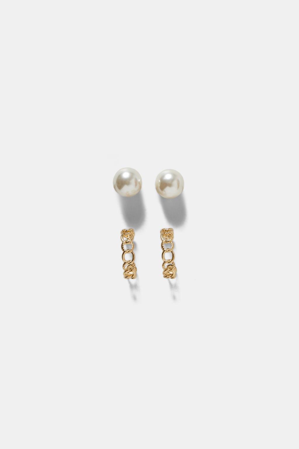 2 Pack Of Hoop And Pearl Bead Earringsgift Guide Woman by Zara