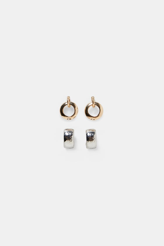 Pack Of 2 Hoop Earrings  Collection Timeless Woman Corner Shops by Zara