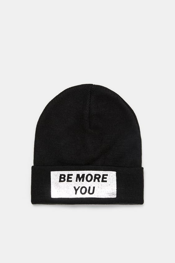 47a220af72b BEANIE WITH SLOGAN PATCH - View all-ACCESSORIES-WOMAN
