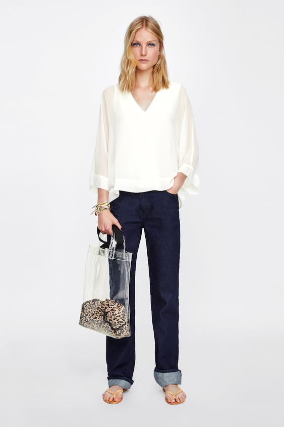 Blouse With Ribbed Neckline  Blouses Shirts by Zara