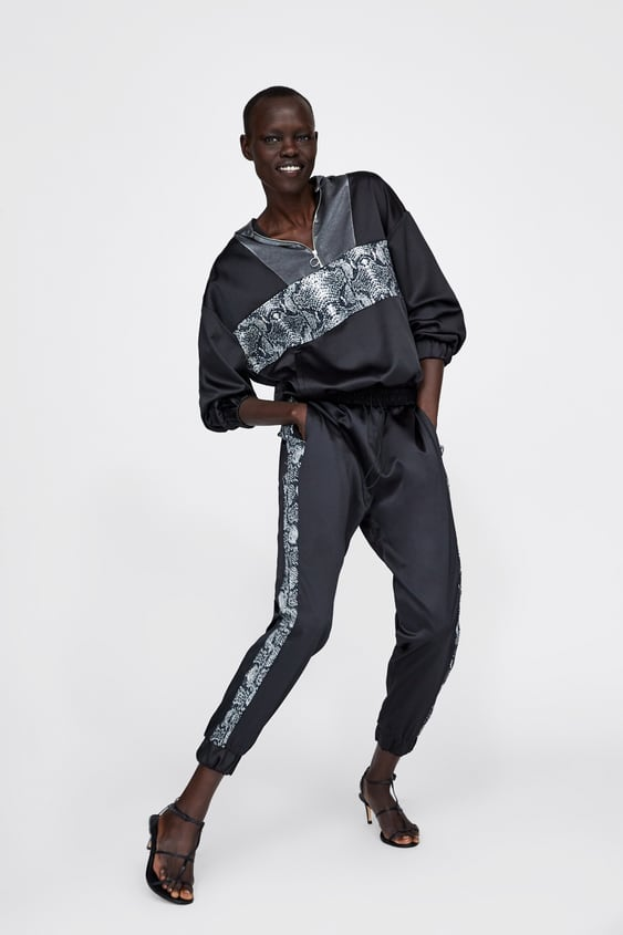 Jogging Pants With Snakeskin Print Stripe  Bottomsstarting From 50 Percents Off Woman Sale by Zara