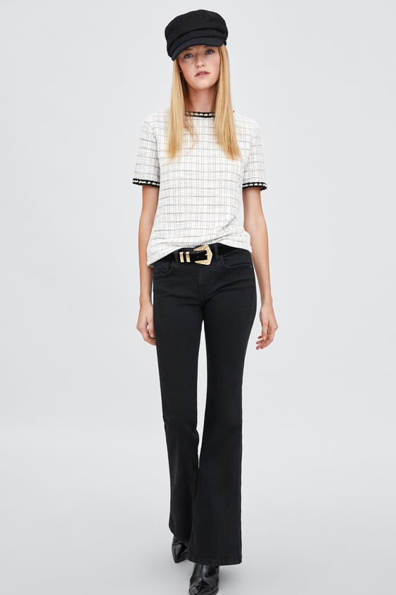 Textured T  Shirt With Pearl Bead Trims View All T Shirts Woman by Zara