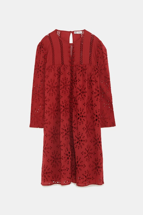 Embroidered Dress With Pompoms View All Zara United States