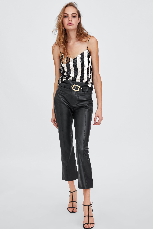 PantalÓn Efecto Piel  Fluidos Pantalones Mujer by Zara