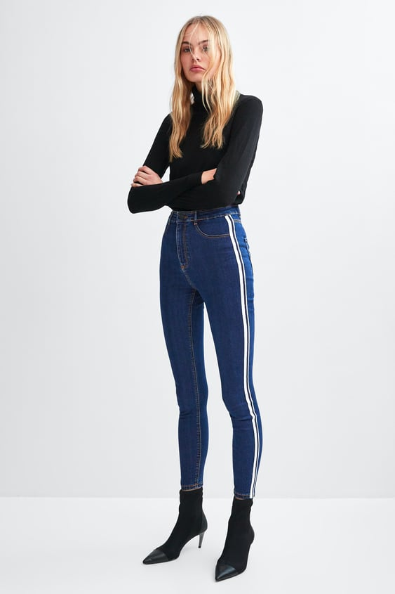 """Shaper"" Hi  Rise Jeggings With Side Stripes High Waist Rises Jeans Woman by Zara"