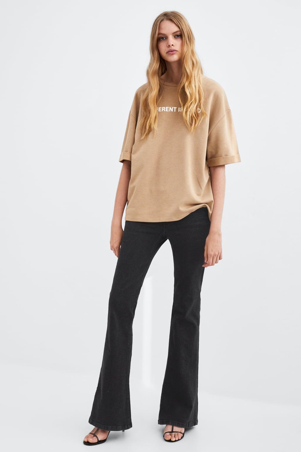 plush-t--shirt-with-textgraphic-&-slogans-t-shirts-woman by zara