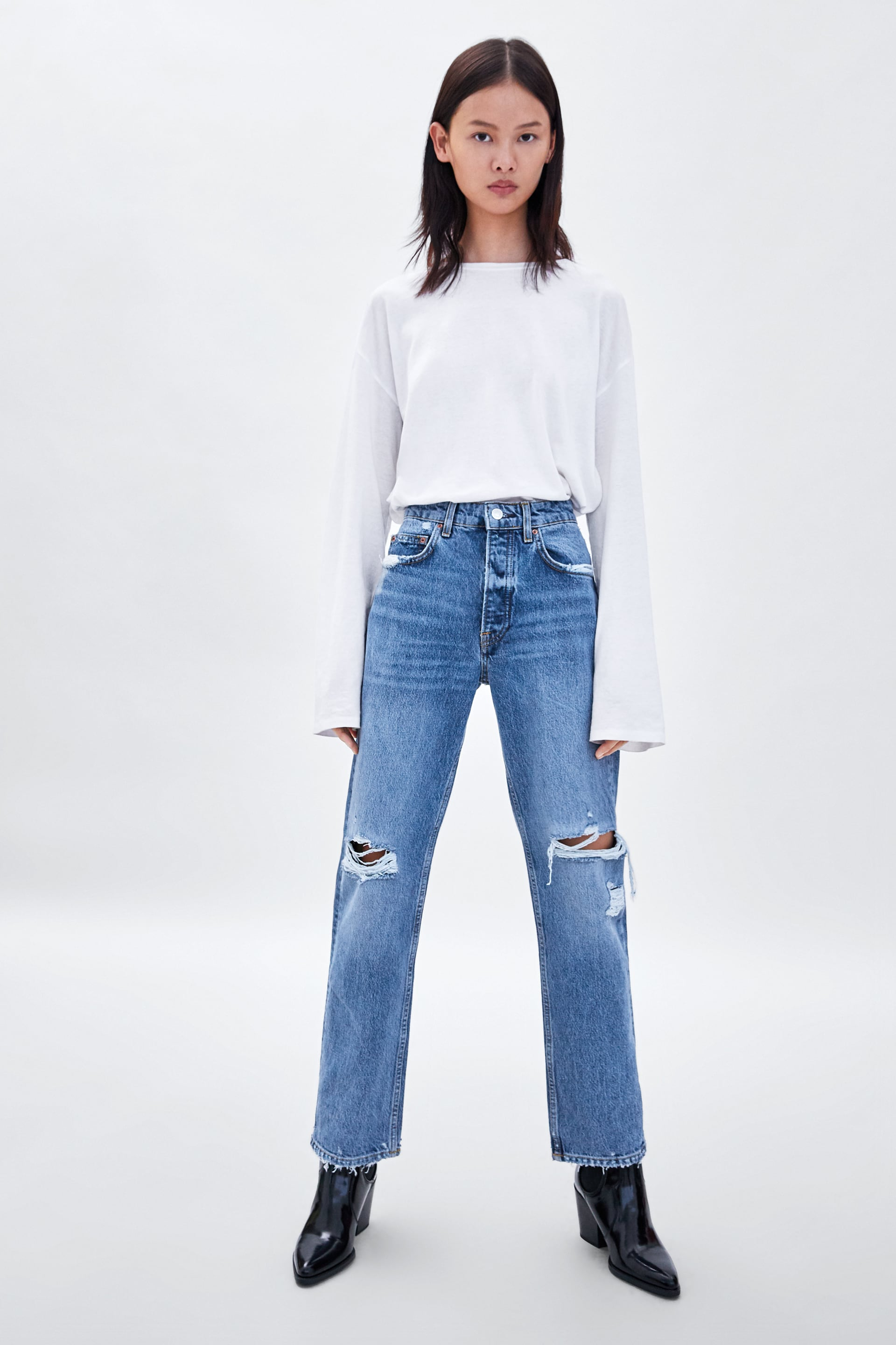 Straight Leg Mid  Rise Damaged Jeans Straight Fit Fits Jeans Trf by Zara