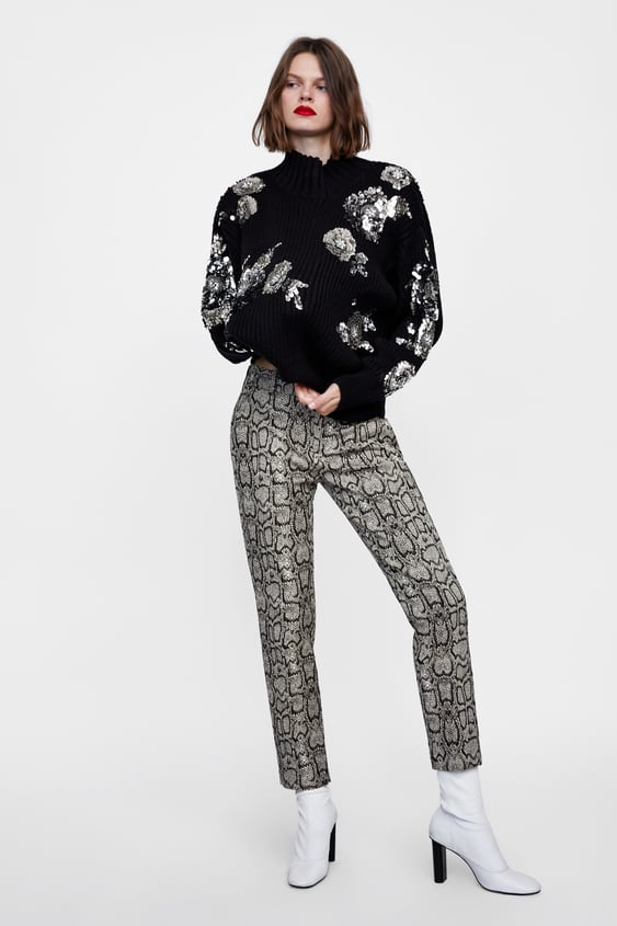 3bae99037d38e7 STRAIGHT FIT SNAKESKIN PRINT TROUSERS - View all-PANTS-WOMAN-SALE ...