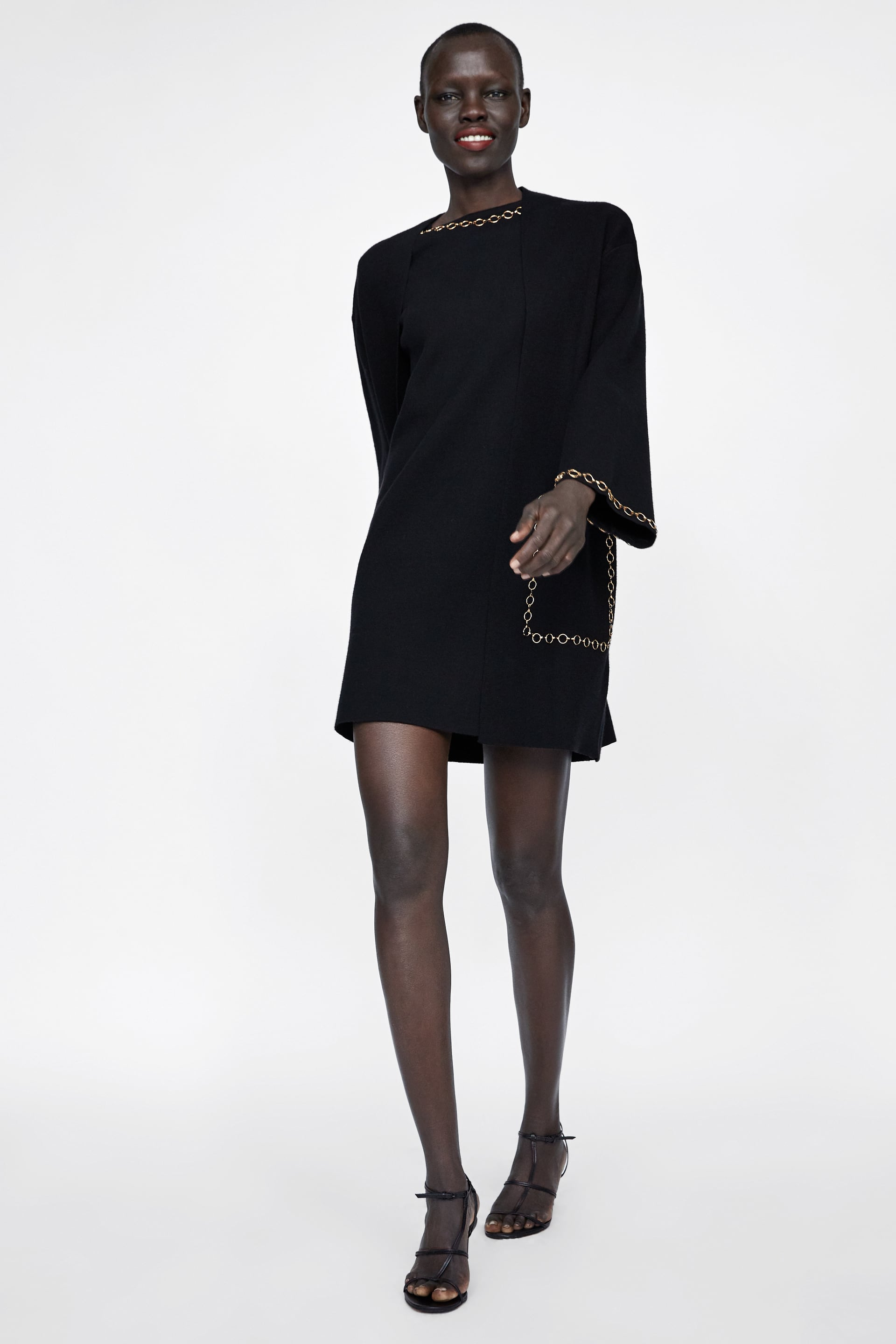Knit Coat With Chains  View All Knitwear Woman by Zara