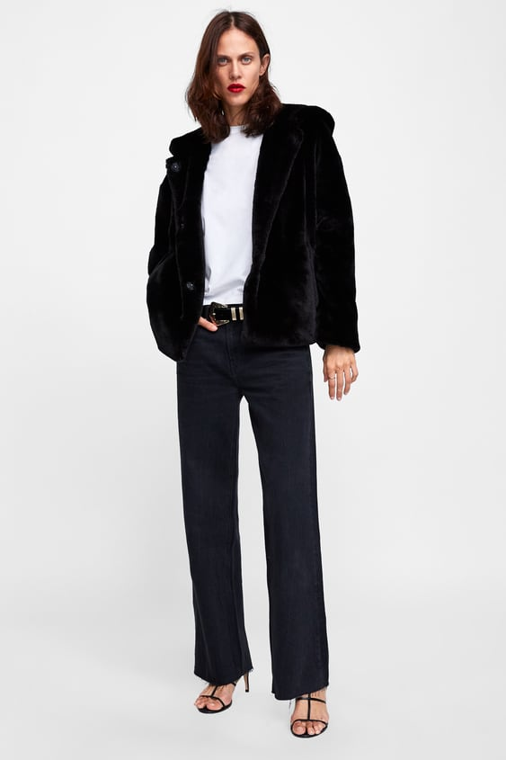 dc927233be HOODED FAUX FUR JACKET