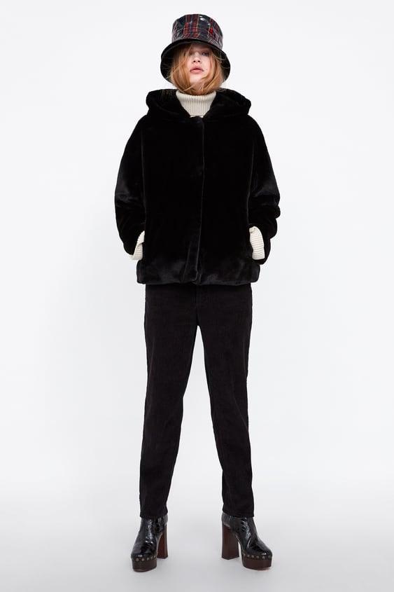 KapÜŞonlu Sunİ KÜrk Ceket  Siyah DiŞ Gİyİm Kadin by Zara