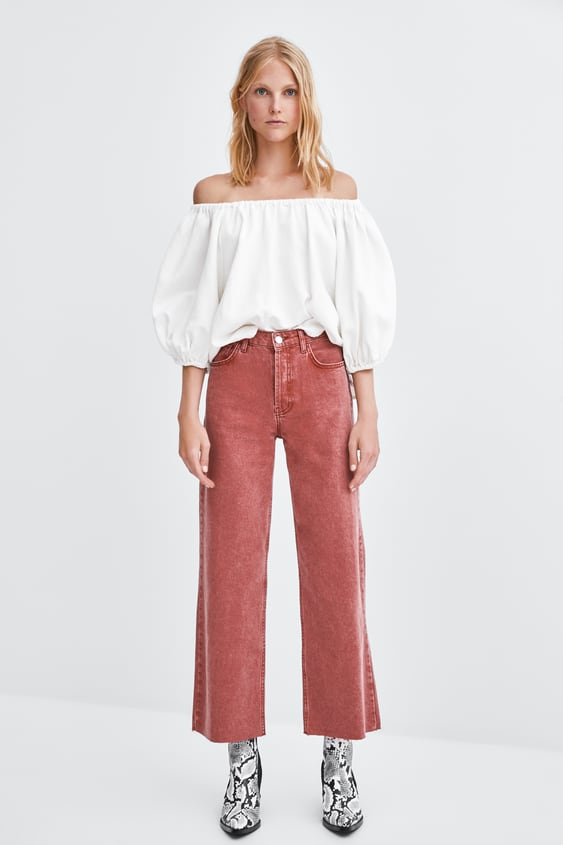 Jeans Wide Leg Hi Rise Color Recto Fits Jeans Mujer by Zara