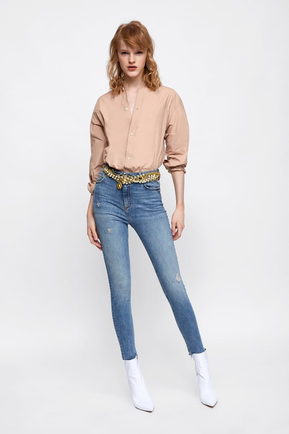 Jeans Zw Premium High Waist Mercer Blue  Scrambled Hems Concepts Jeans Woman by Zara